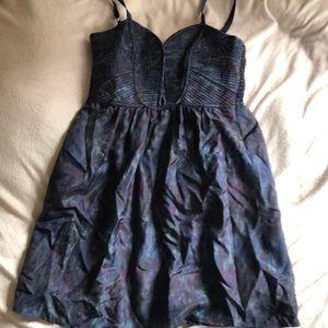 Dark purple, blue, green tie dye silk dress